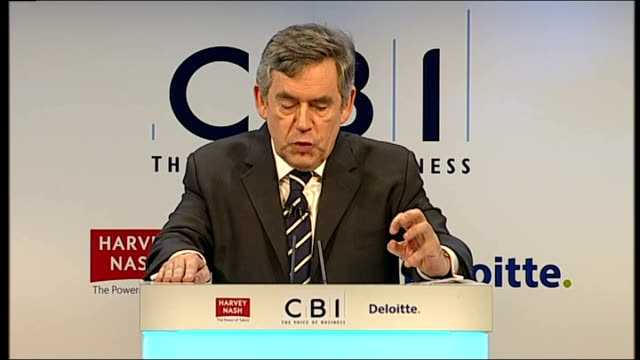 annual conference in london: gordon brown speech; brown speech sot - just as these are the priorities for businesses, so they are for alistair... - shift key stock videos & royalty-free footage