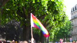 Annual gay pride parade with thousands of people Europe tilt-shift