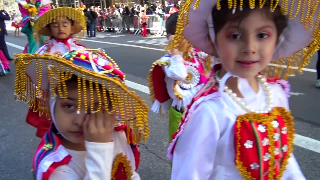 annual hispanic day parade on fifth avenue in manhattan, new york city, usa on october 11, 2015. - parade stock videos & royalty-free footage