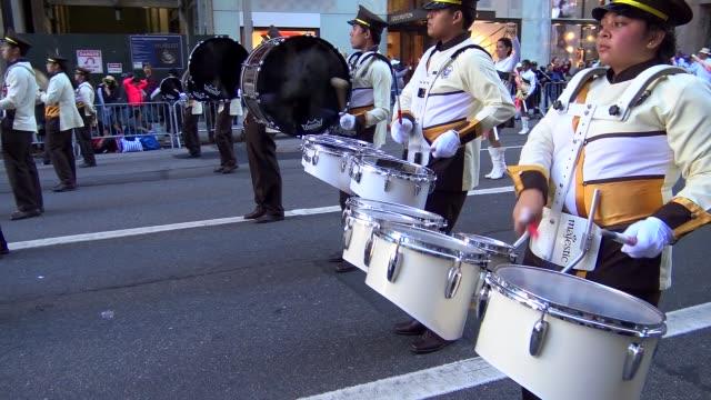 annual hispanic day parade on fifth avenue in manhattan new york city usa on october 11 2015 - banda che marcia video stock e b–roll