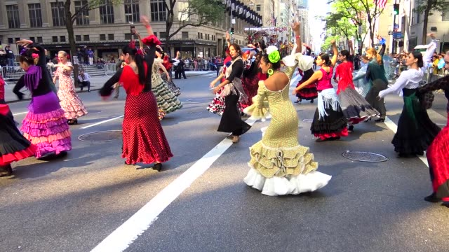 Annual Hispanic Day Parade on Fifth Avenue in Manhattan New York City USA on October 11 2015 / Danza espa��ola baile espa��ol o ballet espa��ol