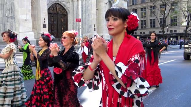 annual hispanic day parade on fifth avenue in manhattan, new york city, usa on october 11, 2015 / danza espa��ola, baile espa��ol o ballet espa��ol. - flamenco dancing stock videos & royalty-free footage