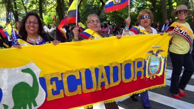 annual hispanic day parade on fifth avenue in manhattan, new york city, usa on october 11, 2015. - ecuadorian ethnicity stock videos & royalty-free footage