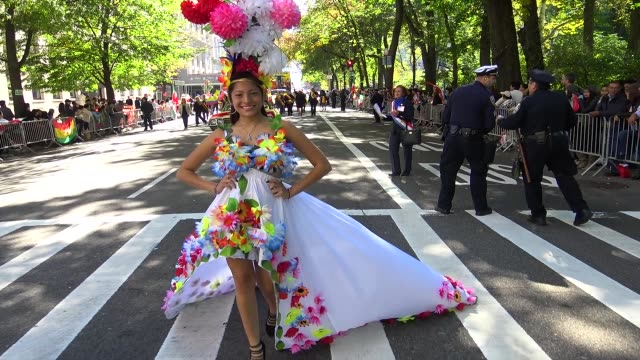 annual hispanic day parade on fifth avenue in manhattan new york city usa on october 11 2015 - ecuadorian ethnicity stock videos and b-roll footage