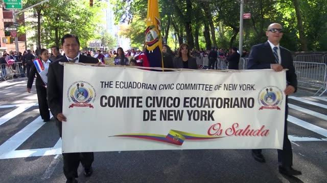 annual hispanic day parade on fifth avenue in manhattan, new york city, usa on october 11, 2015 / ecuadorian civic committee inc . - ecuadorian ethnicity stock videos & royalty-free footage
