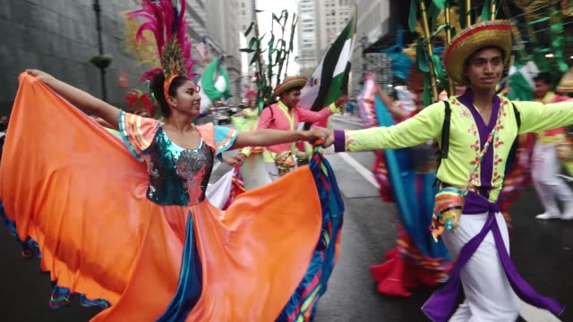 annual hispanic day parade on fifth avenue in manhattan new york city usa - desfile stock videos & royalty-free footage