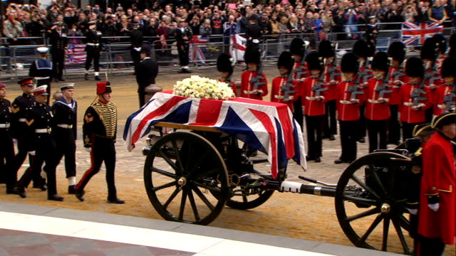 annual inspection of king's troop royal horse artillery lib / 1742013 st paul's cathedral gun carriage carrying coffin of margaret thatcher along... - royal horse artillery stock videos and b-roll footage