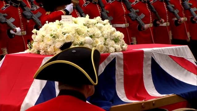 annual inspection of king's troop royal horse artillery lib **cockburn interview overlaid sot** flagdraped coffin of margaret thatcher during... - royal horse artillery stock videos and b-roll footage
