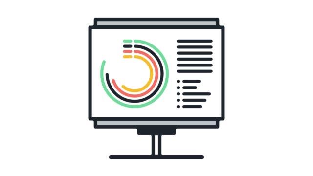 vídeos y material grabado en eventos de stock de anual informes línea icono animación con alfa - diagrama circular