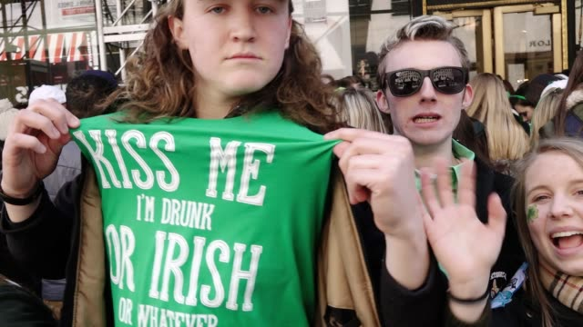 annual st. patrick's day parade via 5th avenue, midtown manhattan, new york city, usa. - st. patrick's day stock videos & royalty-free footage