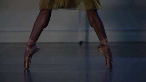 anonymous ballet dancer on brown coloured pointe shoes - to match skin tone - ballet dancing stock videos & royalty-free footage