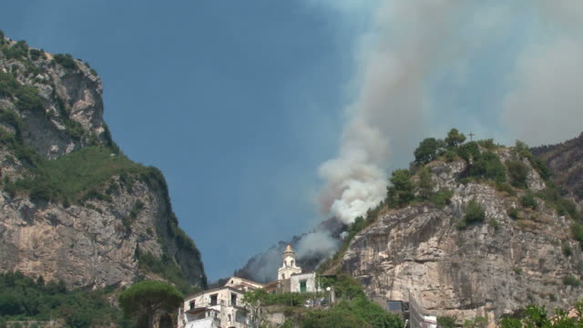 another arson in a valley of the amalfi coast, italy - rock face stock videos & royalty-free footage