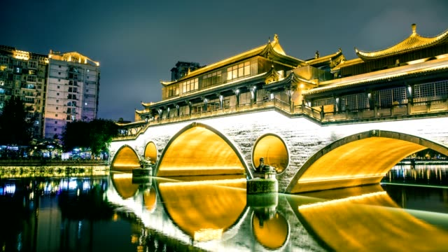anshun bridge above jinjiang river in chengdu,china - pagoda stock videos & royalty-free footage