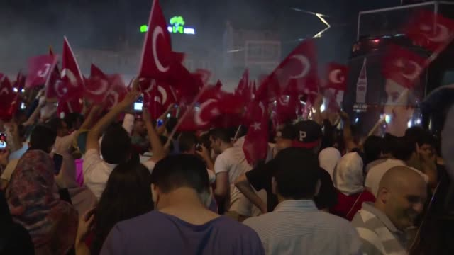 answering a call to fill squares across turkey president recep tayyip erdogan's ecstatic supporters surge through the streets to celebrate what they... - strongman stock videos & royalty-free footage