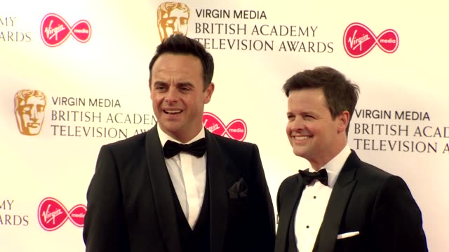 ant and dec pose for photos on red carpet at bafta tv awards 2019 at royal festival hall london - two people stock videos & royalty-free footage