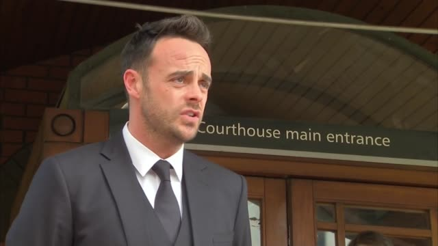 stockvideo's en b-roll-footage met ant mcpartlin court departure and statement england london wimbledon magistrates' court ext ant mcpartlin statement to press outside court sot truly... - ant mcpartlin