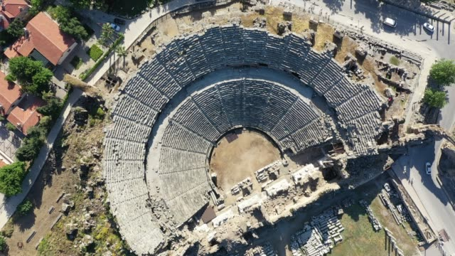 antalya side antique city aerial view - amphitheatre stock videos & royalty-free footage