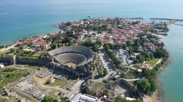 antalya side antique city aerial view - old ruin stock videos & royalty-free footage