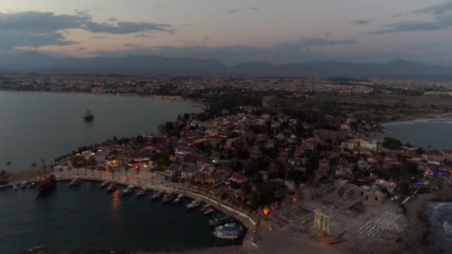 antalya side antique city in the night - naxos greek islands stock videos & royalty-free footage