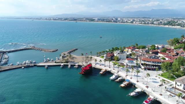 antalya side antique city marina - naxos greek islands stock videos & royalty-free footage
