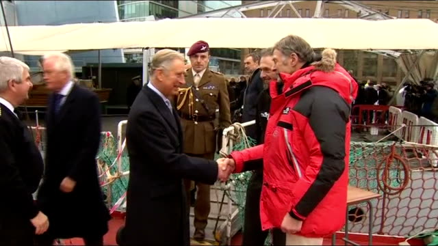 prince charles visits sir ranulph fiennes on hms belfast; **music heard sot** **beware flash photography** charles along onto hms belfast and... - choir stock videos & royalty-free footage
