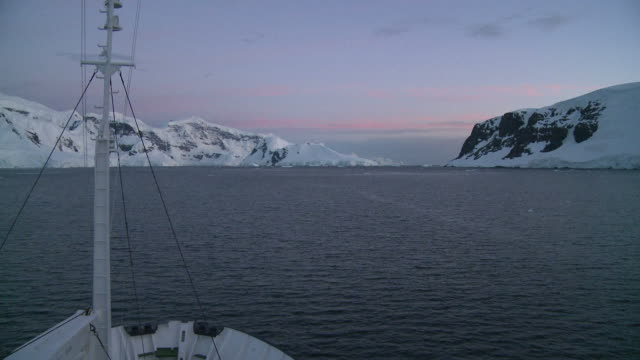 Antarctic scenic channel. (view from bridge of ship). Antarctic Peninsula