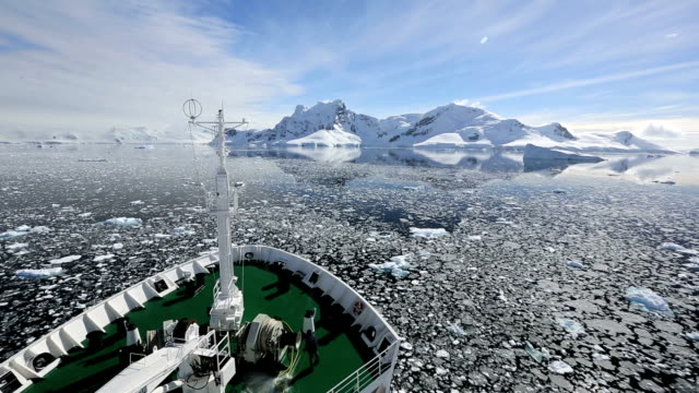 antarctic transport ship and coast - exploration stock videos & royalty-free footage