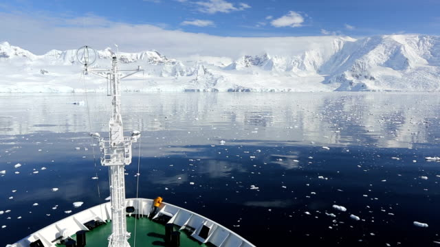 Antarctic transport ship and coast