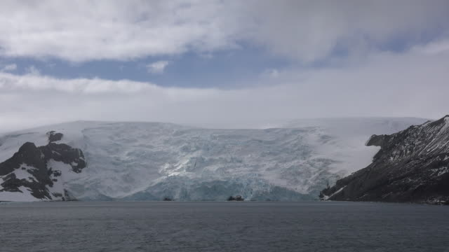 antarctica admiralty bay glacial front - area selvatica video stock e b–roll