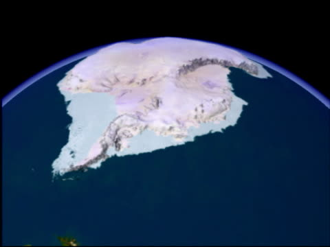 stockvideo's en b-roll-footage met antarctica. animation showing first the surface view and then the ocean-depth (bathymetric) view of antarctica.. - zuidelijk halfrond