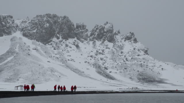 Antarctica Deception Island Volcano Medium Shot; Inside Crater