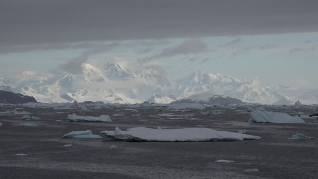 Antarctica distant white mountains