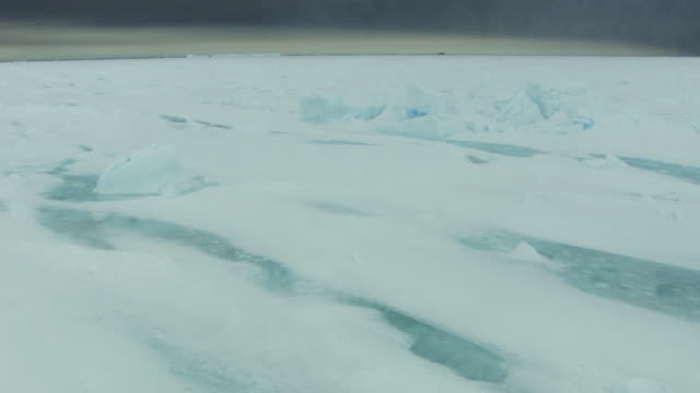 antarctica: ice landscape under cloudy sky - south pole stock videos and b-roll footage