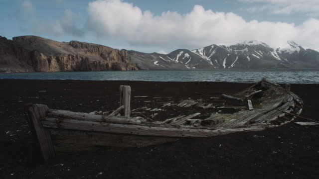 antarctica, mountains, old ship ruins - imperfection stock videos & royalty-free footage
