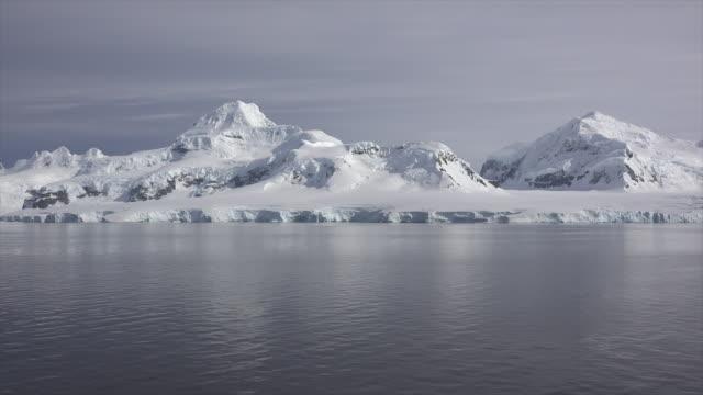 antarctica paradise harbor snow on mountains - area selvatica video stock e b–roll