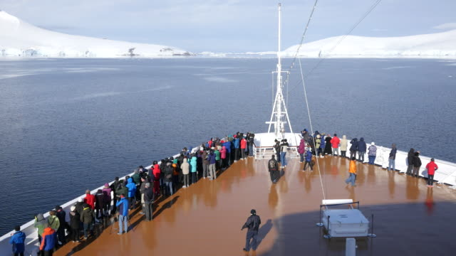 antarctica passengers on bow of ship - imbarcazione per passeggeri video stock e b–roll