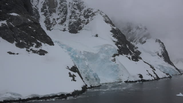 Antarctica Passing an icy shore along the Lamaire Channel