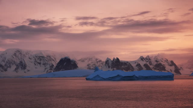 antarctica sailing in late evening light - antarctica sunset stock videos & royalty-free footage