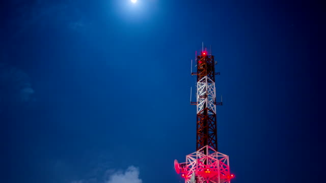 Antenna broadcast TV signal on sky and moon at night background