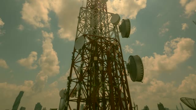 antenna communication tower and blue sky - communications tower stock videos & royalty-free footage