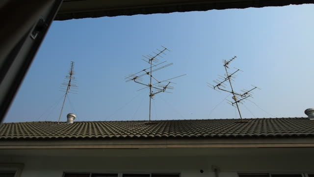tv antenna, dolly shot - television aerial stock videos and b-roll footage