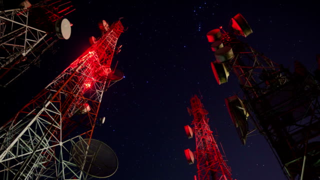 antenna tower at night - tracery stock videos and b-roll footage