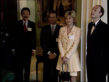 anthea turner and peter powell split up; lib england: london: downing street: int: anthea turner and peter powell arriving and greeted at reception... - anthea turner stock videos & royalty-free footage