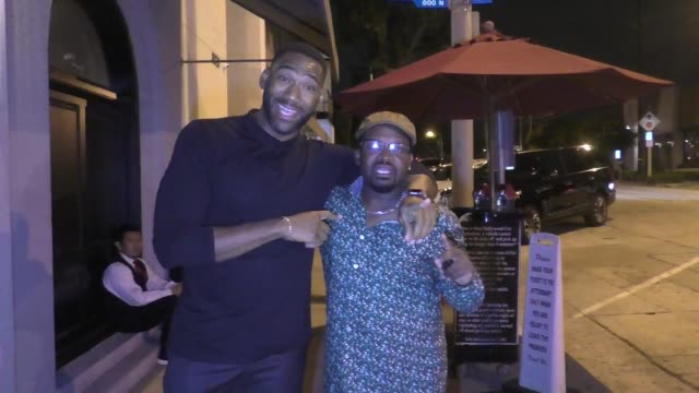 interview anthony alabi anthony hill talk about their new show family reunion outside craig's restaurant in west hollywood in celebrity sightings in... - family reunion stock videos and b-roll footage