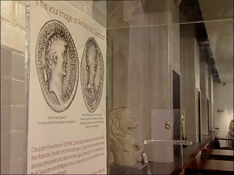 'anthony and cleopatra' coin on display at newcastle university general views of cleopatra display at museum including map and poster asking 'is this... - cleopatra stock videos & royalty-free footage