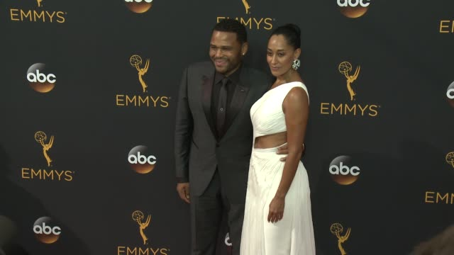 Anthony Anderson and Tracee Ellis Ross at the 68th Annual Primetime Emmy Awards Arrivals at Microsoft Theater on September 18 2016 in Los Angeles...
