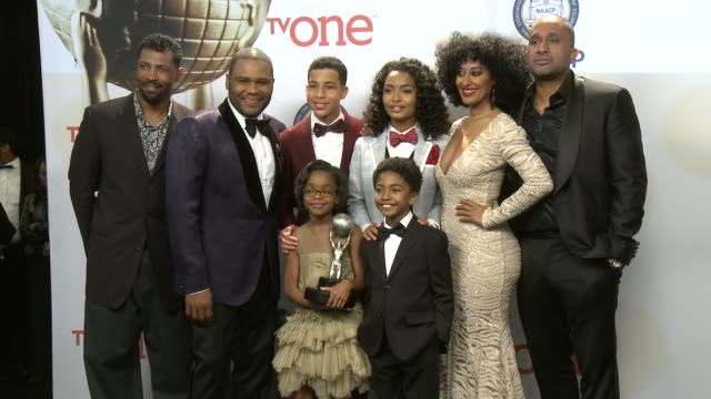 Anthony Anderson Yara Shahidi Marcus Scribner Tracee Ellis Ross Marsai Martin and Miles Brown at the 46th Annual NAACP Image Awards Press Room at...