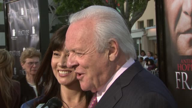 anthony hopkins and his wife at the 'fracture' premiere at the mann village theatre in westwood, california on april 11, 2007. - regency village theater stock videos & royalty-free footage