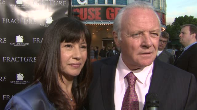 Anthony Hopkins and his wife on how he determines which movie to work on and if he looks to his wife for feedback at the 'Fracture' Premiere at the...