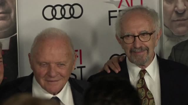 anthony hopkins and jonathan pryce who portray pope benedict xvi and pope francis in the new film 'the two popes attend a screening of the film at... - anthony hopkins stock videos & royalty-free footage